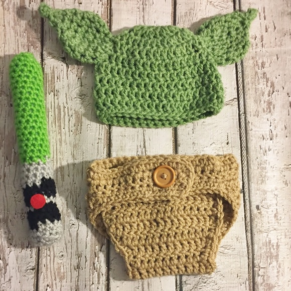 Costumes Crochet Yoda Hat And Diaper Cover Set Poshmark